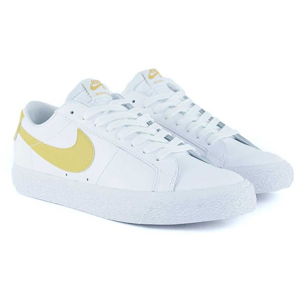 5d3d389c35b6 Nike Sb Blazer Zoom Low White Mineral Gold Skate Shoes at Black ...