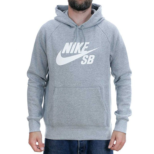 Nike Sb Icon Hooded Sweatshirt Heather Grey White