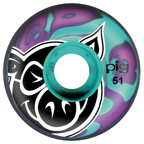 Pig Head Swirl Skateboard Wheels Purple Green 51mm