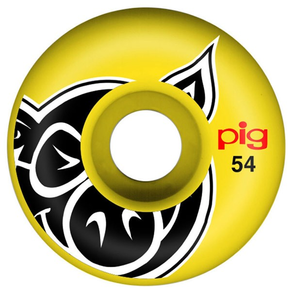 Pig Head Skateboard Wheels Yellow 54mm