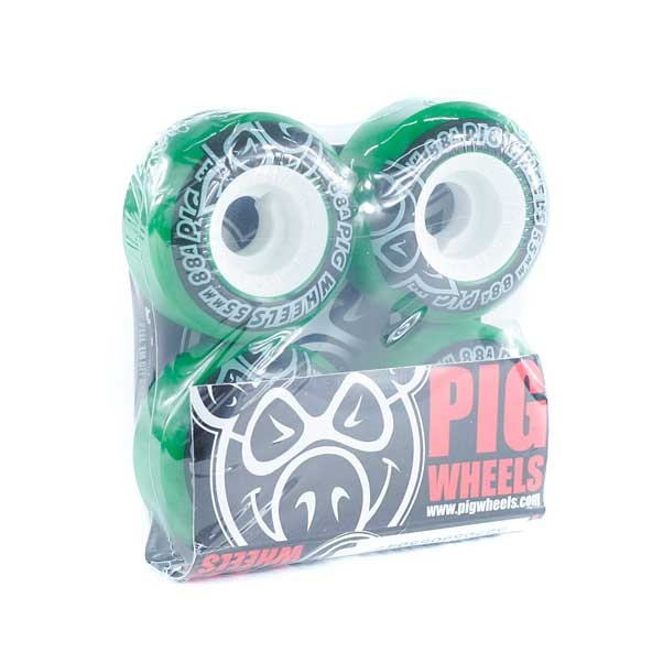 Pig Street Cruiser Swirl Skateboard Wheels Green 88A 55mm