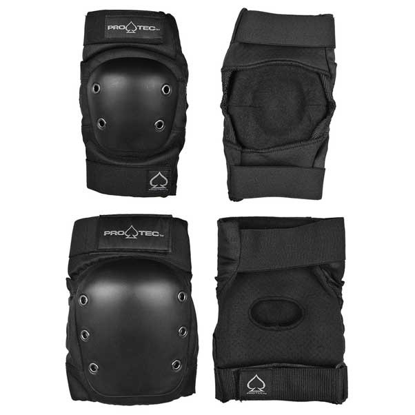 Protec Skateboard Knee/Elbow Protective Pads Set Black
