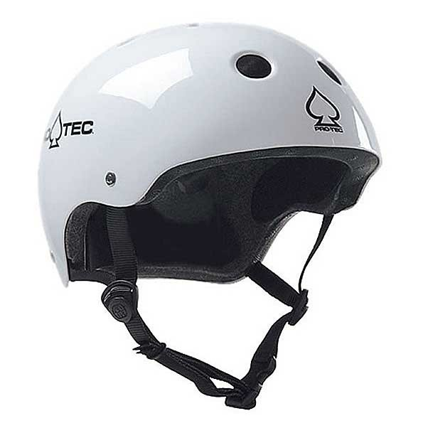 Protec The Classic Gloss White Skateboard Helmet