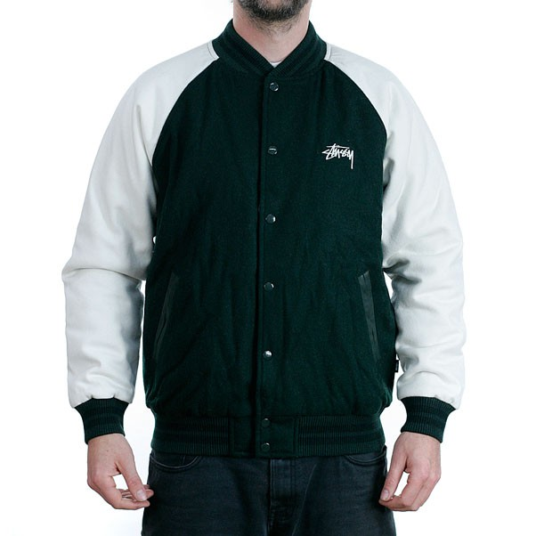 Stussy Two Tone Wool Varsity Jacket Forest Green