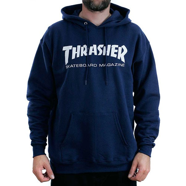 Thrasher Magazine Navy Skate Mag Logo Hooded Sweatshirt