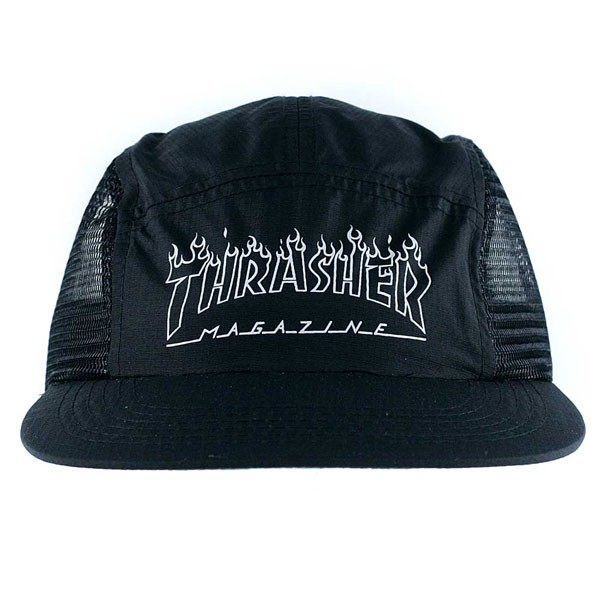 Thrasher Magazine Flame Outline 5 Panel Cap Black at Black Sheep ... 4a4b95d5d3d