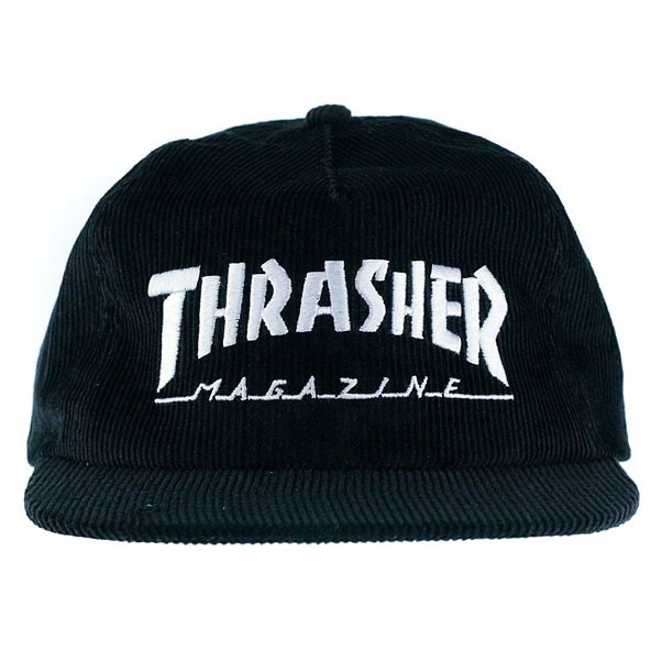 7a1f16df354 Thrasher Magazine Logo Corduroy Snapback Hat Black at Black Sheep ...