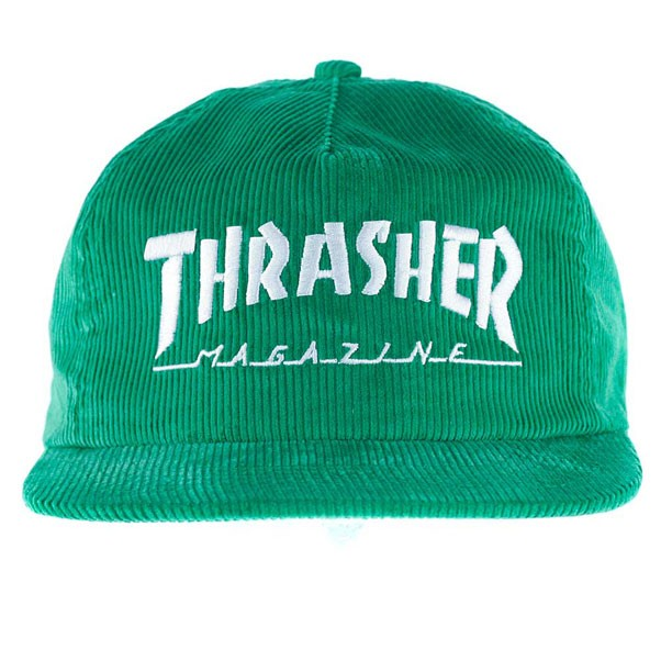 719e3bb8585bc Thrasher Magazine Logo Corduroy Snapback Hat Green at Black Sheep ...
