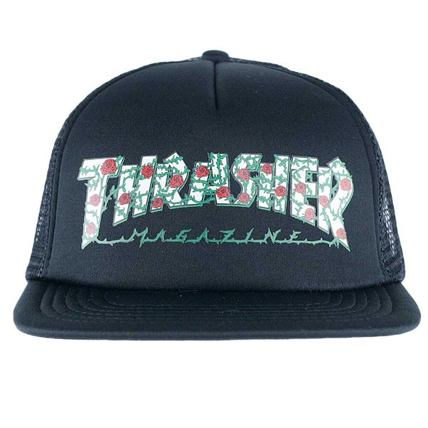 5e66a331e478e Thrasher Magazine Roses Mesh Trucker Hat Black at Black Sheep ...