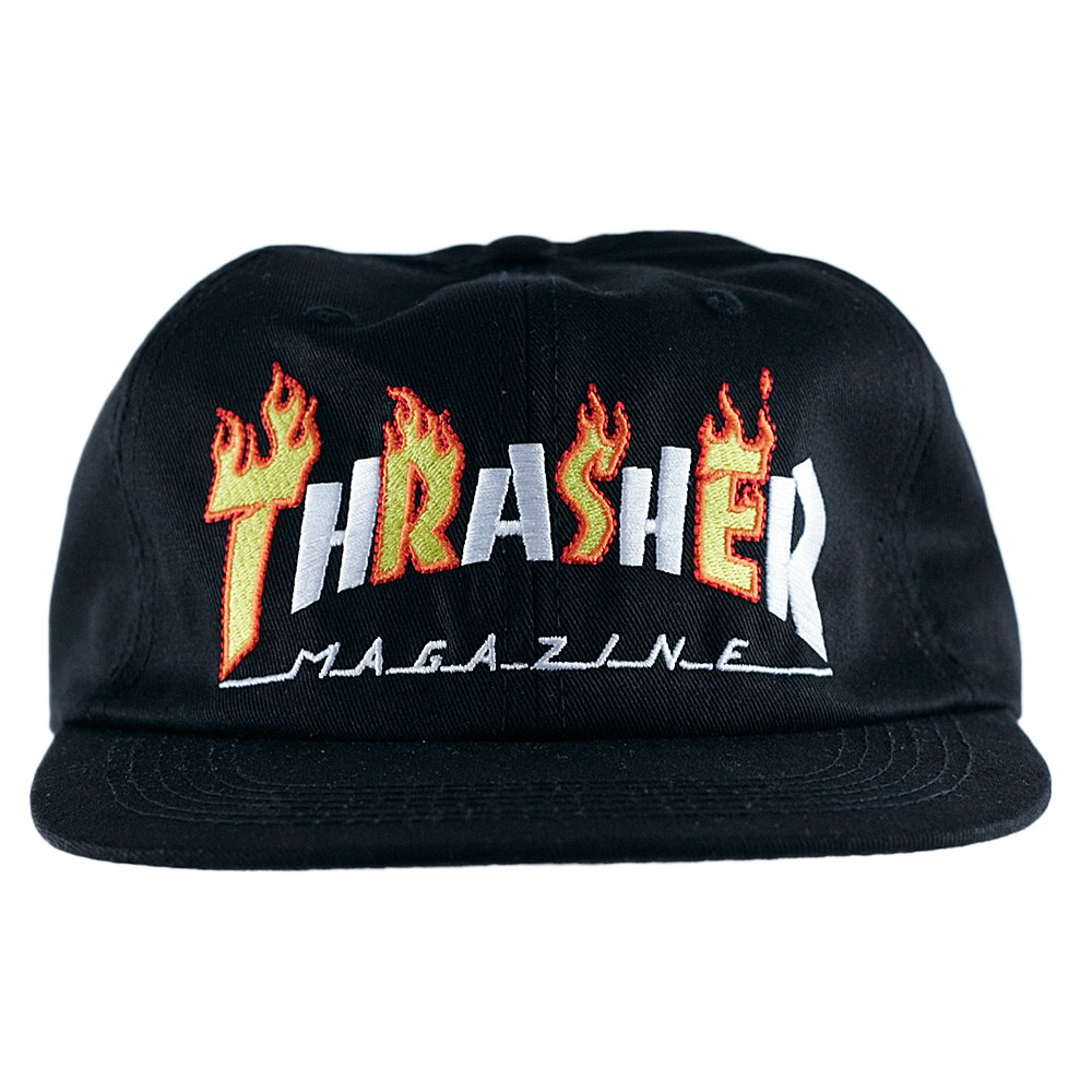 f2d6e4a58807 Thrasher Magazine Snapback Cap Flame Mag Black at Black Sheep Skateboard  Shop