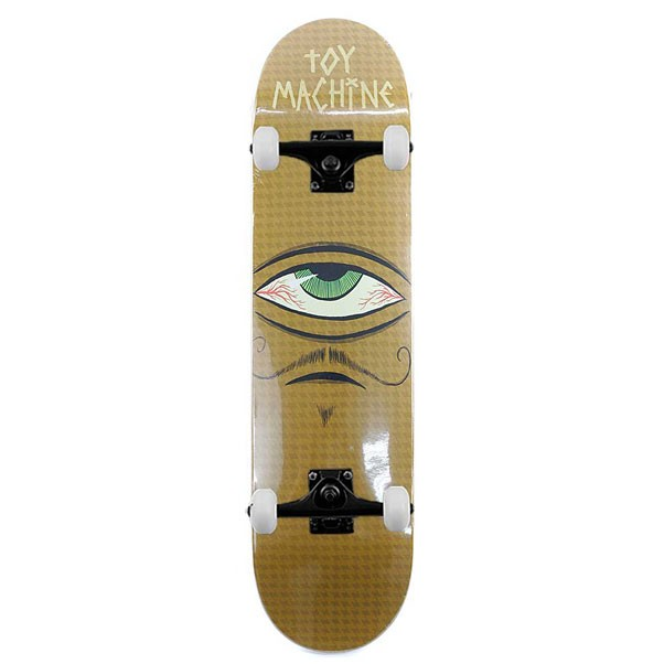 Toy Machine Skateboards Mustachio PP Complete Skateboard Yellow 7.75""