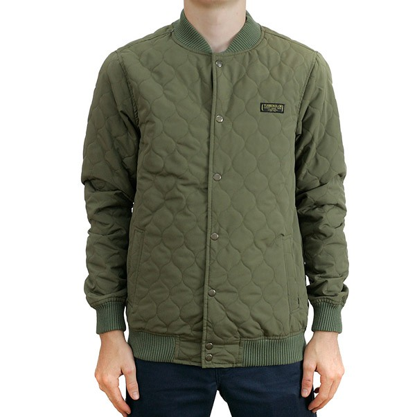 Turbo Kolor Varsity Quilted Jacket Olive