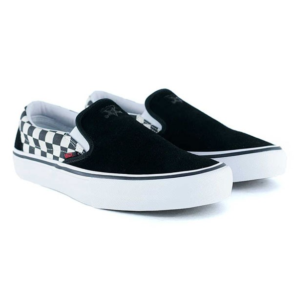 a552f6b30e9 Vans x Thrasher Slip On Pro Black Checkerboard Skate Shoes at Black ...