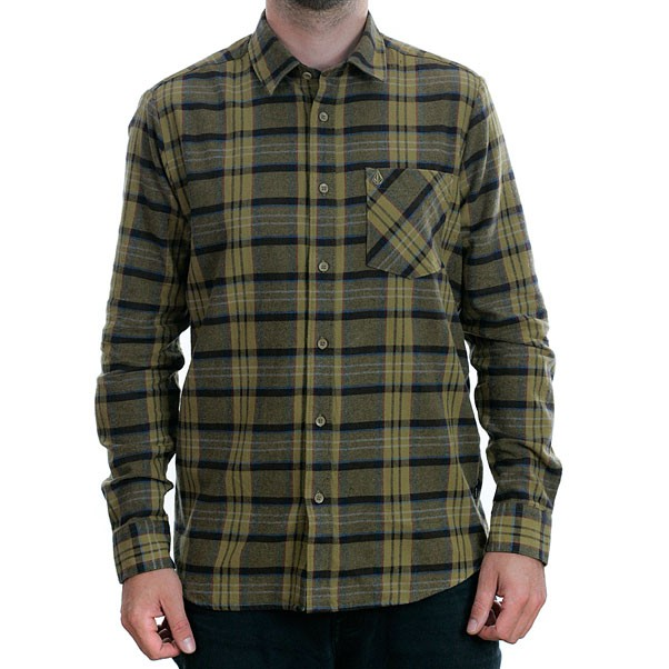 Volcom Gaines Long Sleeve Shirt Dark Khaki