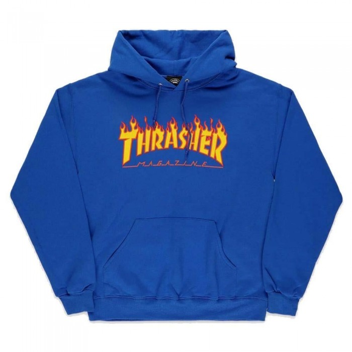 Thrasher Mag  Flame Logo Hooded Sweatshirt Royal