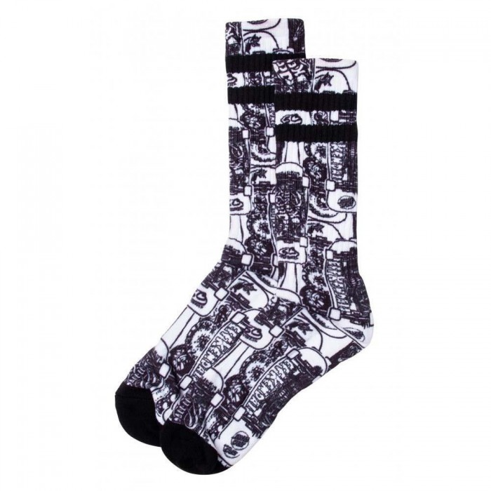 Santa Cruz Socks Kendall Catalog Sock White Black Adult