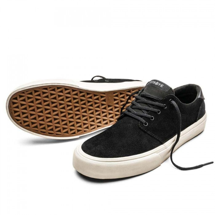 Straye Footwear Fairfax Suede Black Bone Skate Shoes