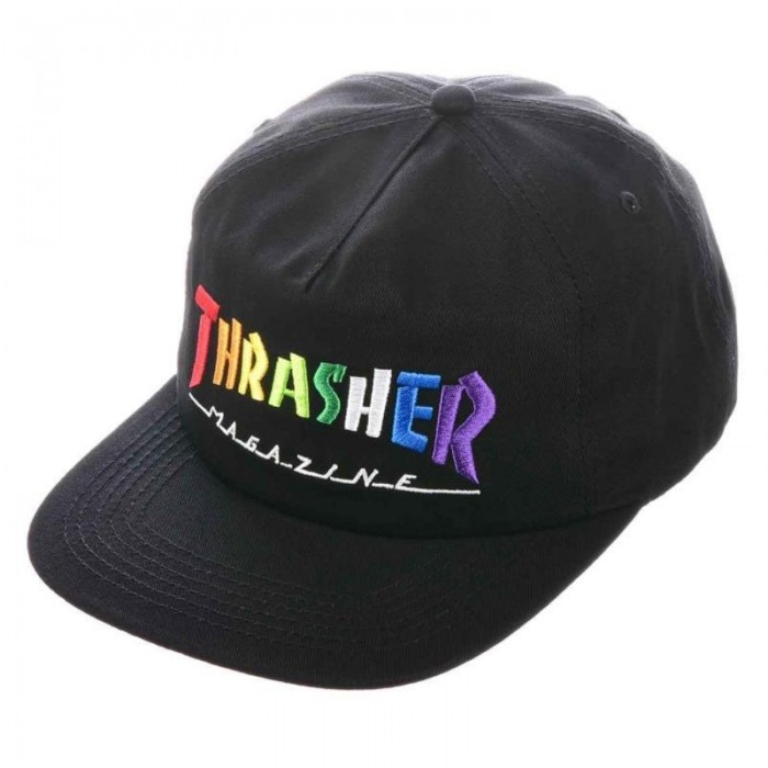 Thrasher Magazine Rainbow Mag Snapback Hat Black
