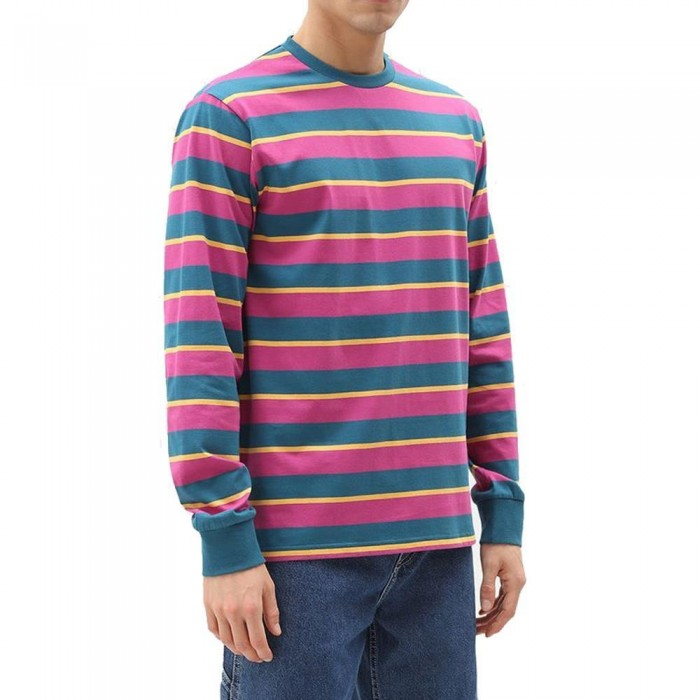 Dickies Latonia Long Sleeve Striped T-Shirt Coral Blue