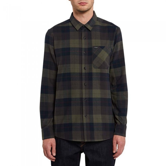 Volcom Caden Plaid Long Sleeve Flannel Shirt Army Green Combo