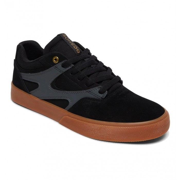 DC Shoe Co Kalis Vulc Black Grey Skate Shoes