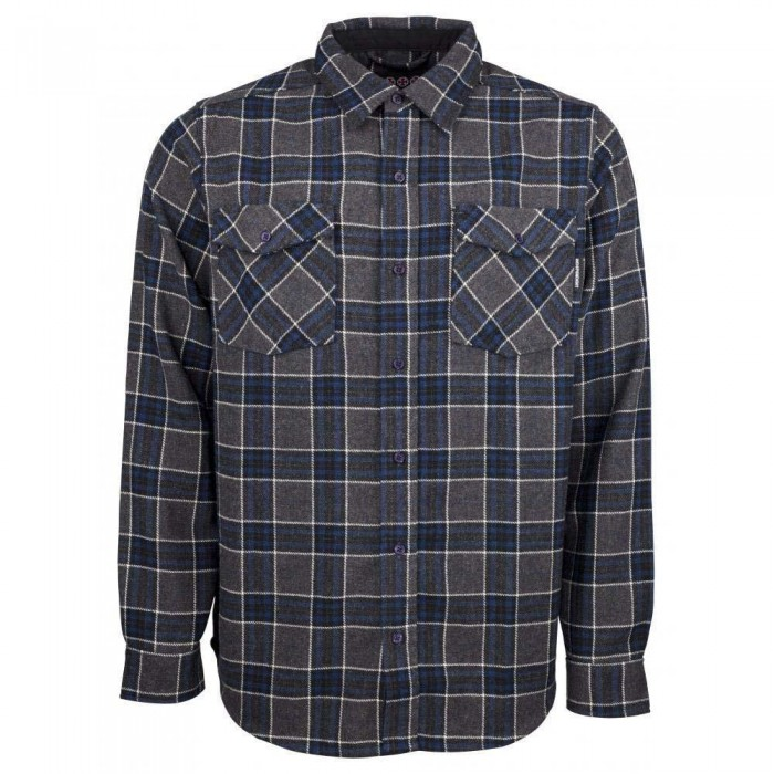 Independent Truck Co Hatchet Button Up Long Sleeved Shirt Navy Plaid