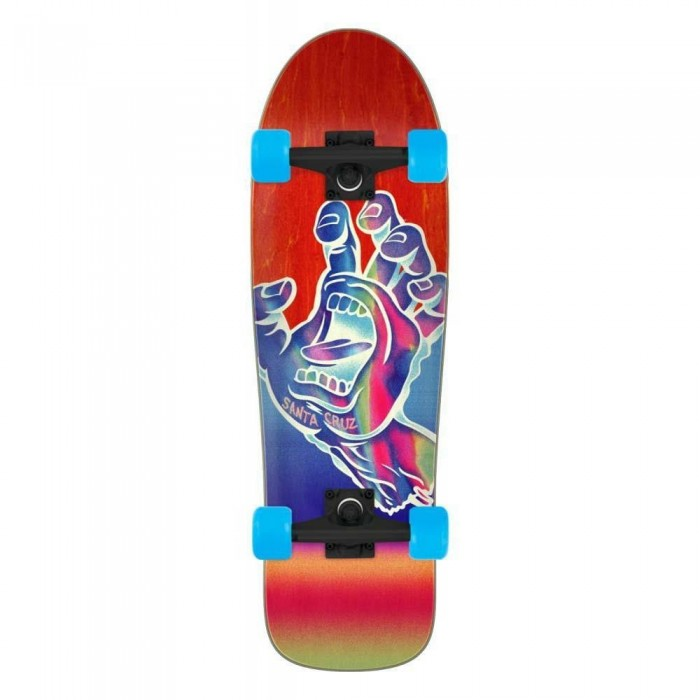 Santa Cruzer Iridescent Hand Factory Complete Skateboard Shaped Red 31.7""