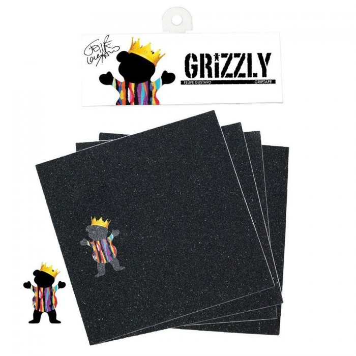 Grizzly Gustavo 4 Pack Skateboard Griptape Black