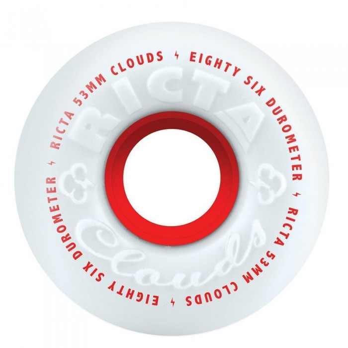 Ricta Wheels Clouds Skateboard Wheels 86A White Red 53mm