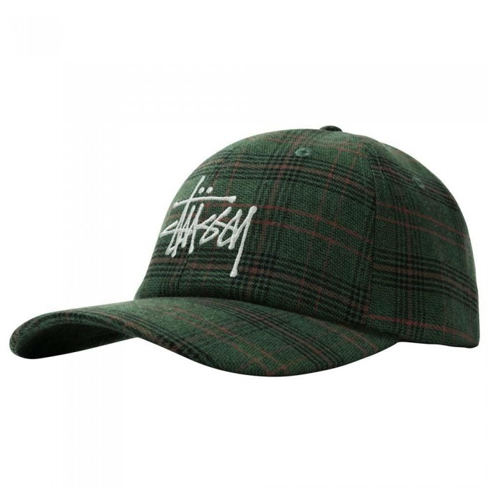 Stussy Big Logo Plaid Low Pro Cap Green