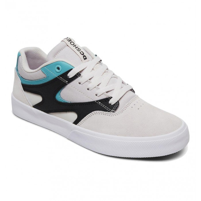 DC Shoe Co Kalis Vulc Grey Black White Skate Shoes