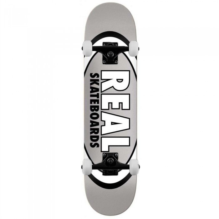 """Real Team Classic Oval True Mid Complete Skateboard Silver 7.75"""""""
