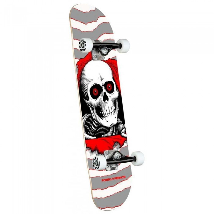 """Powell Peralta Ripper One Off Shape Factory Complete Skateboard Silver 8"""""""
