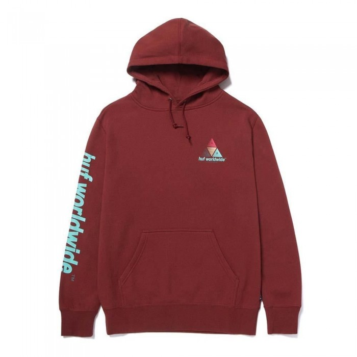 Huf Prism Triple Triangle Pullover Hooded Sweatshirt Brick