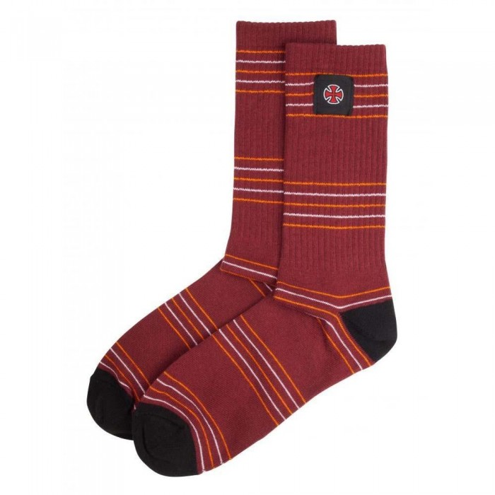 Independent Truck Co Stripes Socks Oxblood Stripe One Size Adult