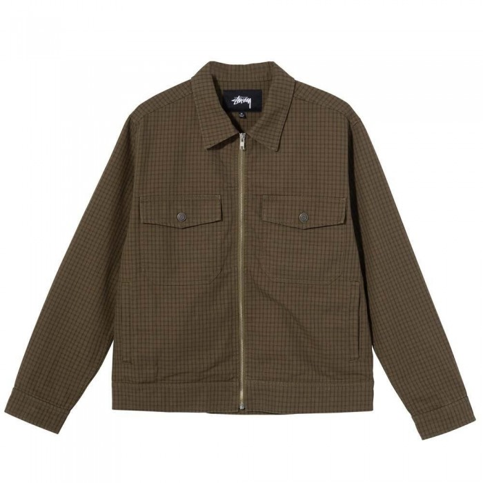 Stussy Check Garage Jacket Olive