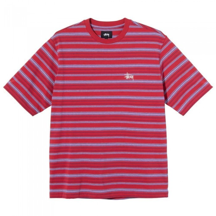 Stussy Heather Stripe Crew Short Sleeve Jersey T-Shirt Red