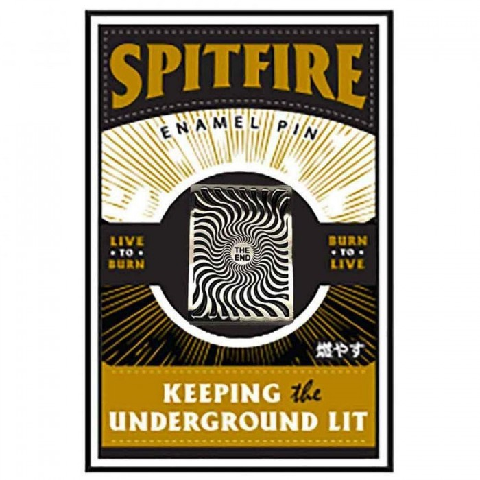 Spitfire Wheels Box Swirl Lapel Pin Badge Silver Black Square