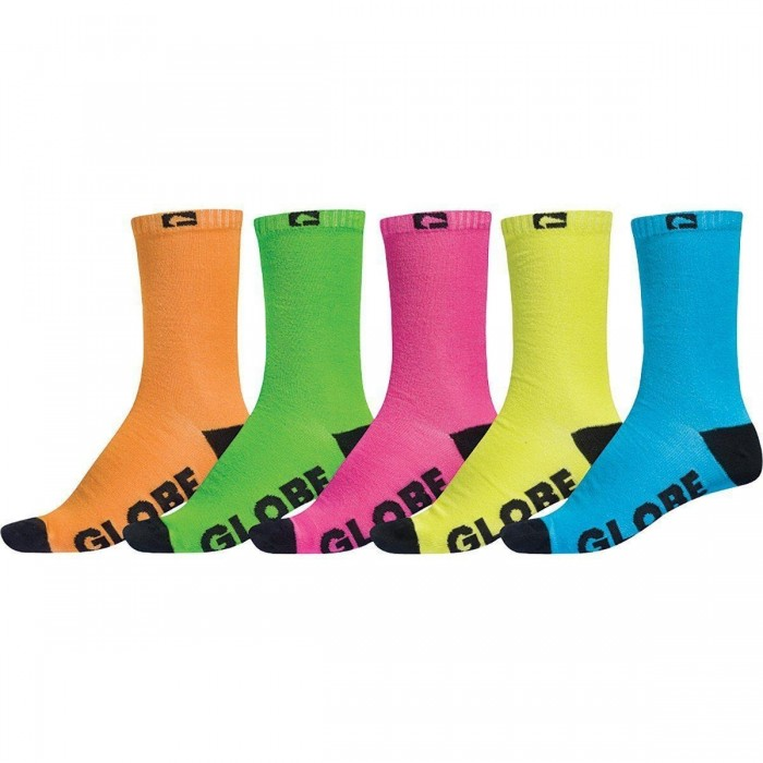 Globe Neon Crew Socks 5 Pack Assorted Uk7 - Uk11