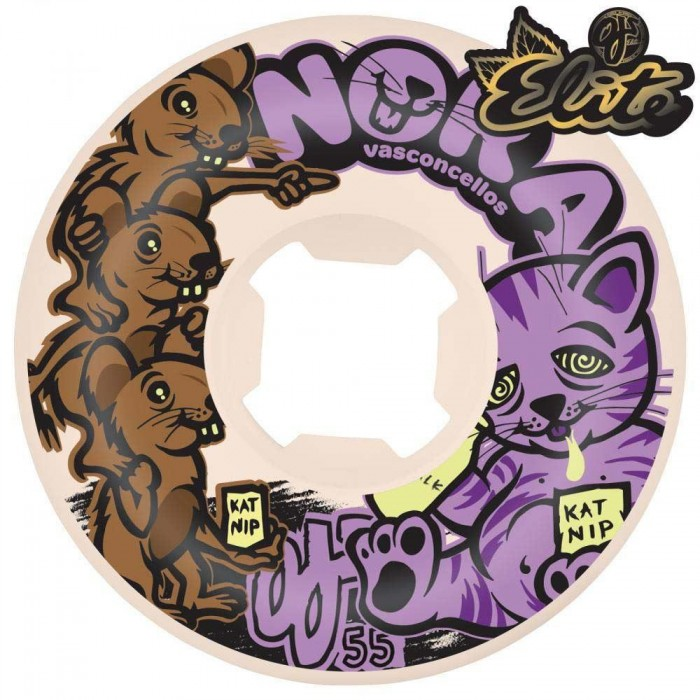 OJ Elite Wheels Noras Rvnge Mix Universals Skateboard Wheels 101a White Purple 55mm