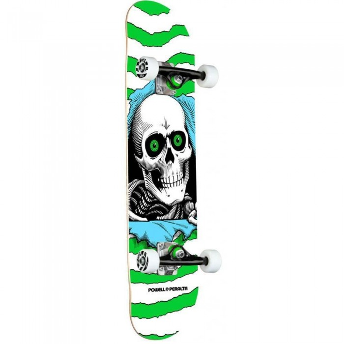 """Powell Peralta Ripper One Off Shape Factory Complete Skateboard Green 7.5"""""""