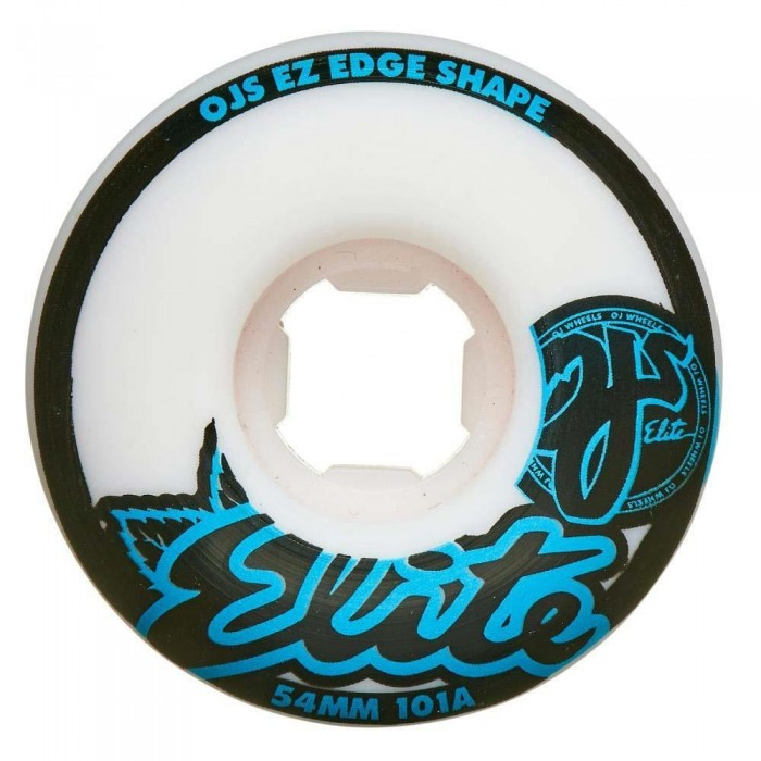 OJ Elite Wheels Elite 101a EZ Edge Skateboard Wheels White Blue 54mm