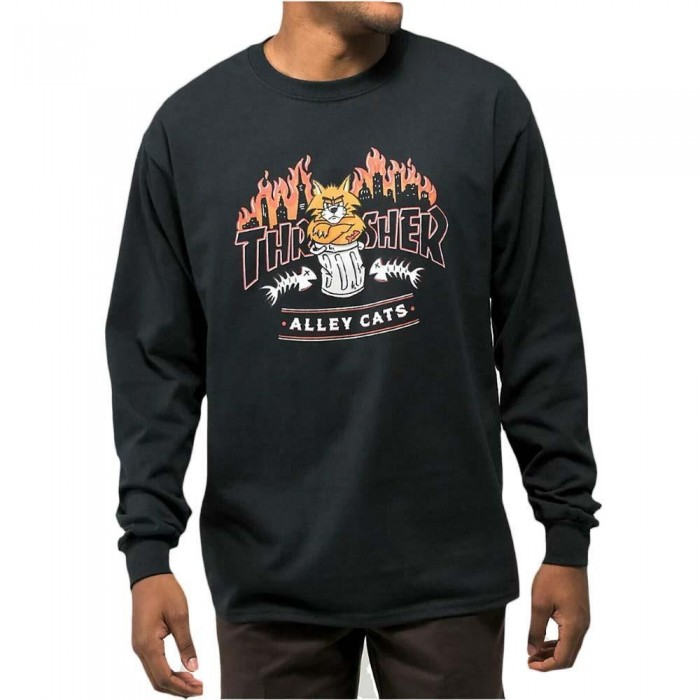 Thrasher Alley Cats Long Sleeved T-Shirt Black