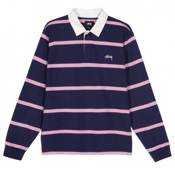 Stussy Hill Stripe Long Sleeved Rugby Shirt Navy