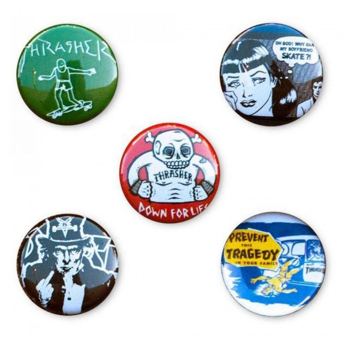 Thrasher Magazine Badges Usual Suspects Buttons(5 Pack)