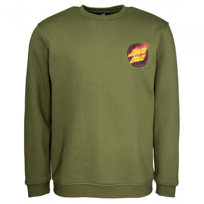 Santa Cruz Flaming Japanese Dot Crewneck Sweatshirt Army Green