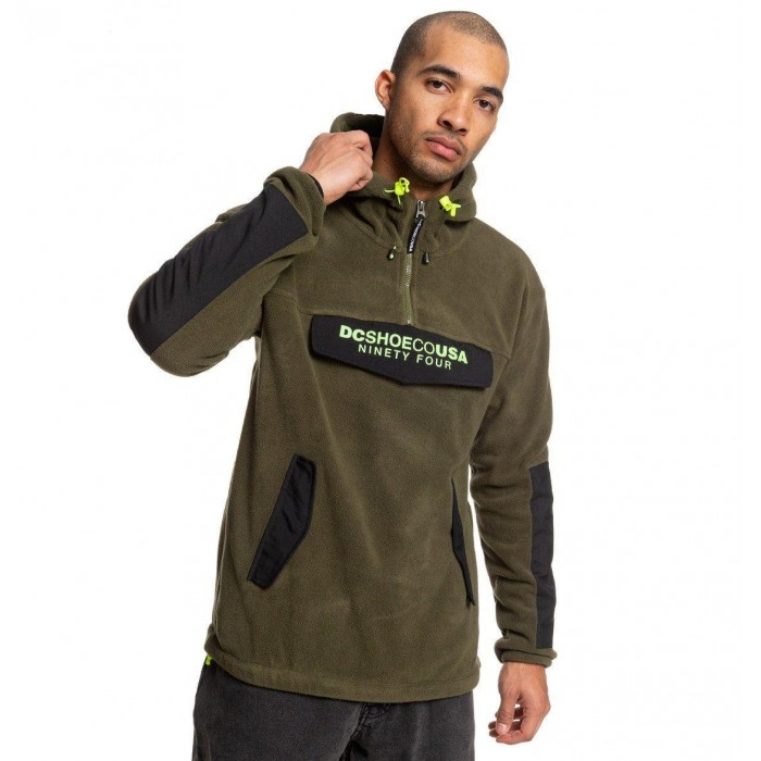 DC Shoes Tagans Half Zip Pullover Fleece Hooded Jacket Fatigue Green