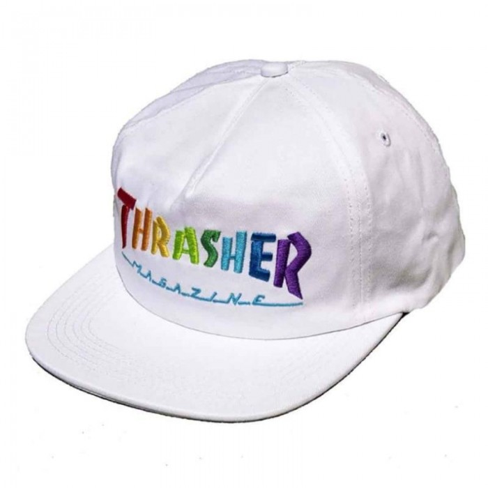 Thrasher Magazine Rainbow Mag Snapback Hat White
