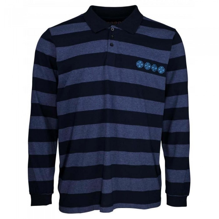 Independent Truck Co Chain Cross Rugby Shirt Navy Stripe