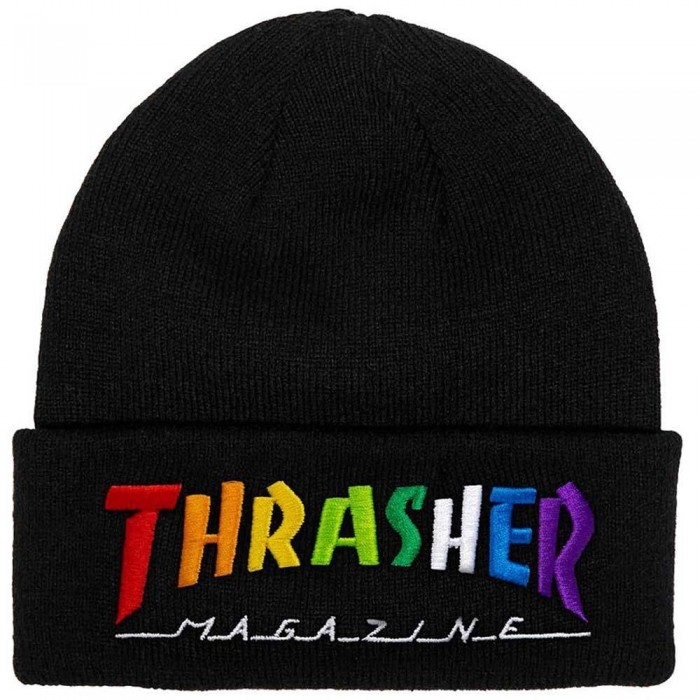 Thrasher Magazine Rainbow Mag Beanie Hat Black